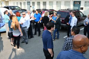 Cantrell's Computer Sales & Service Ribbon Cutting in Concord CA - crowd in parking lot front of our business location