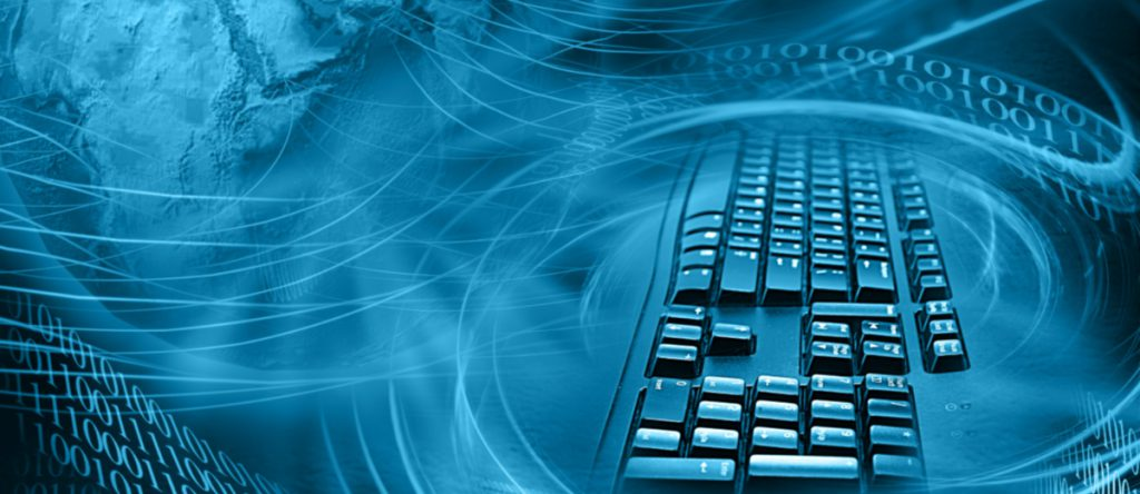 A single computer keyboard is contrasted with the cyber criminals of the world.